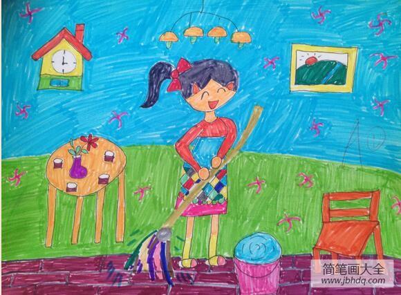 [三八妇女节的来历简介]三八妇女节绘画作品之帮妈妈拖地