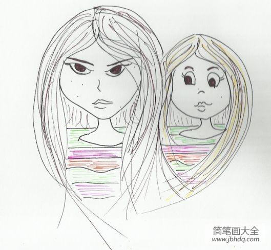三八妇女节的来历简介|三八妇女节送给妈妈的画作品之我们俩