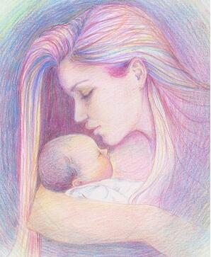 梦见怀抱婴儿|怀抱婴儿的妈妈妇女节儿童画教师范画