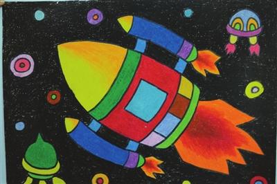 【太空火箭怎么画】太空火箭油棒画