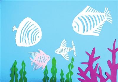 海底世界剪纸贴画|海底世界剪纸