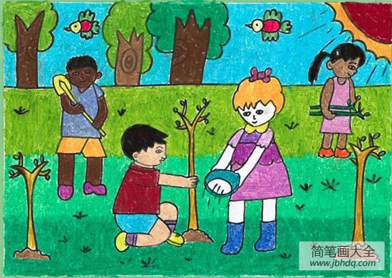 劳动节庆祝的方式|庆祝劳动节儿童画-一起来植树吧