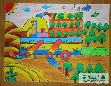 【教师创意蜡笔画作品】儿童蜡笔画作品欣赏-植树造林