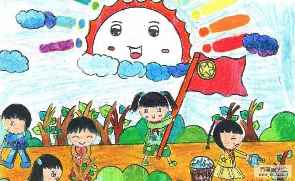 儿童画画学习|儿童画植树节图片-有意义的植树节