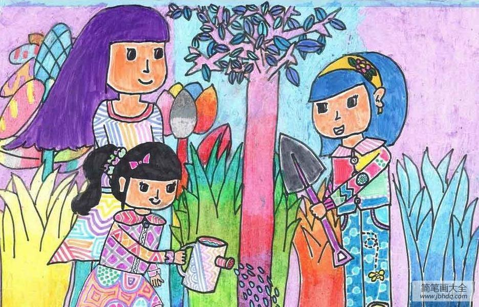 关于植树节的儿童画-合作种树