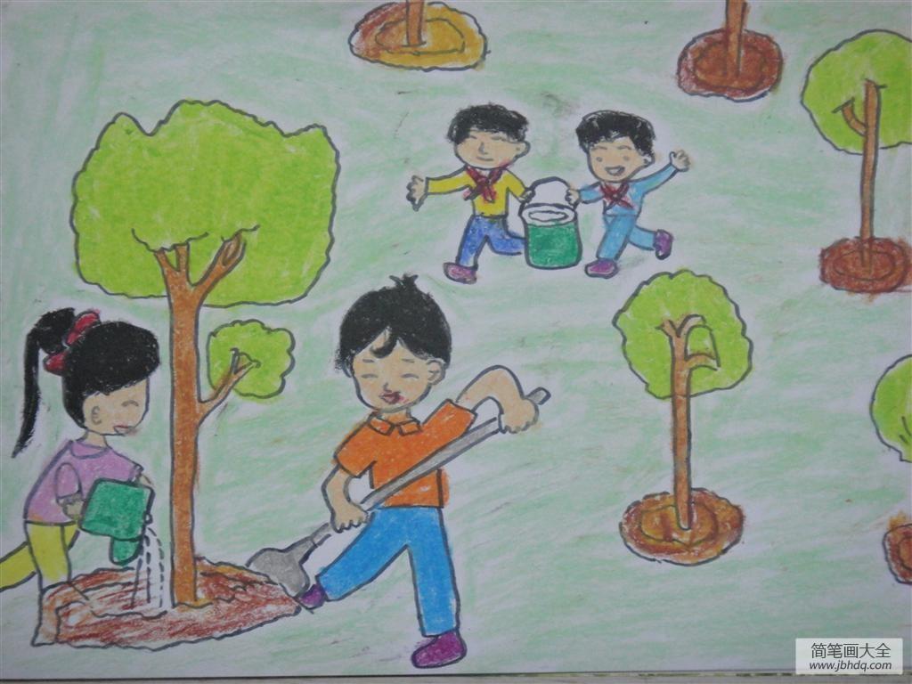 植树节绘画图片大全-我为家乡添抹绿
