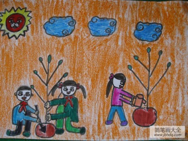 植树节儿童画大全-我们期待绿水青山