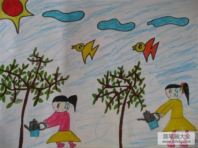 小学生植树节绘画-让绿色充满世界