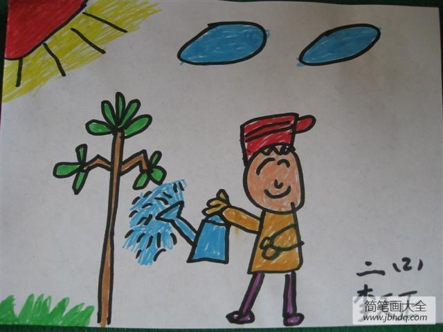幼儿植树节绘画图片-我为小树浇浇水