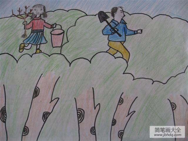 植树节小学生绘画-我和爸爸去植树