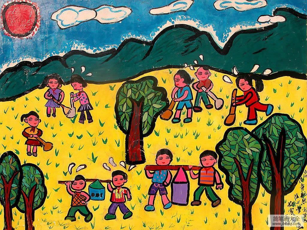 儿童画画学习_儿童画清明节来了-一起来植树