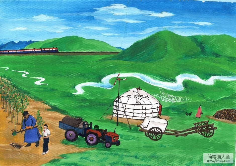 和爷爷一起种树植树节儿童画教师范画