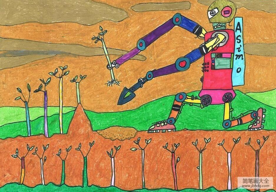 植树节画画图片之机器人种树