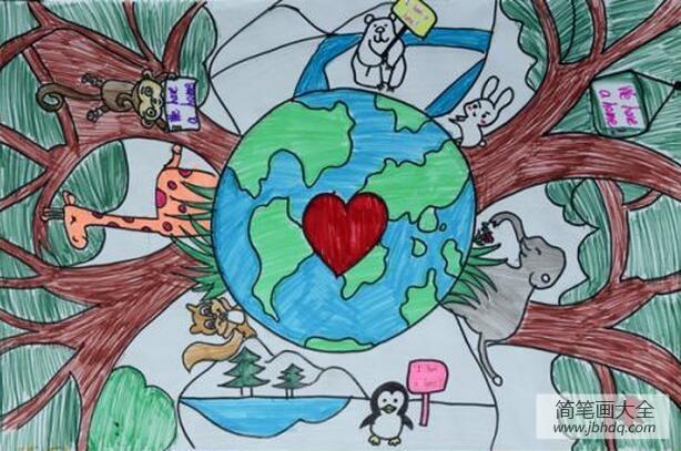 植树节儿童画优秀作品之地球我们共同的家园