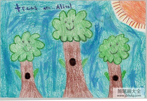 植树节二年级绘画作品之三棵小树苗