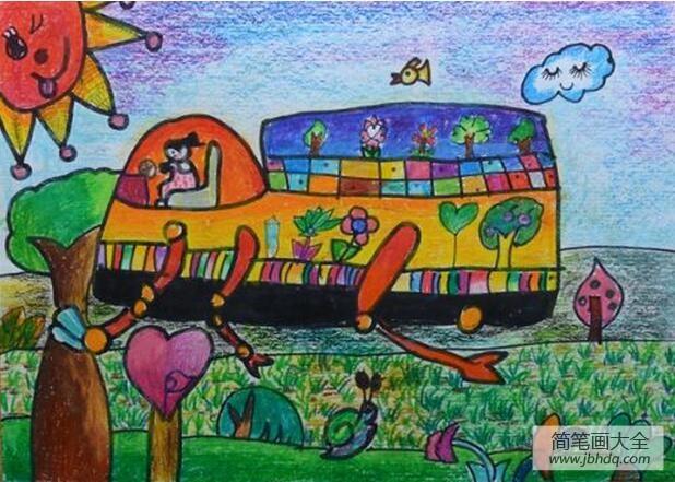 【环保创意车手工制作】环保种树车创意植树节蜡笔画作品欣赏