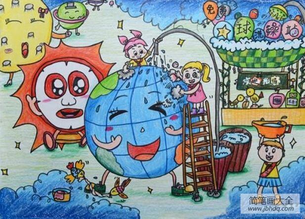 给地球洗澡11岁小朋友植树节创意画分享
