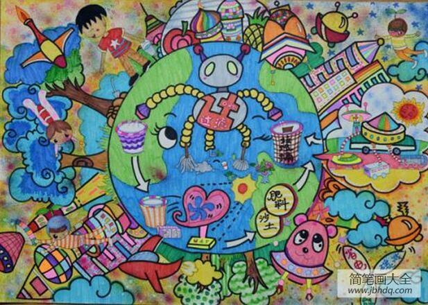 地球一家亲关于植树节的图画