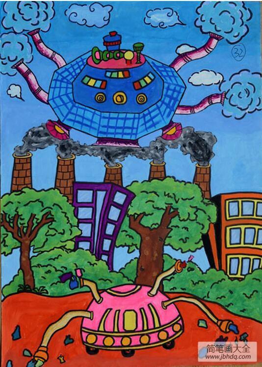 科技改变环境三月植树节儿童画作品赏析