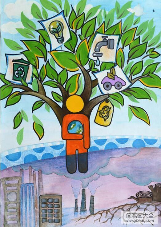 环保之树初中植树节绘画作品展示