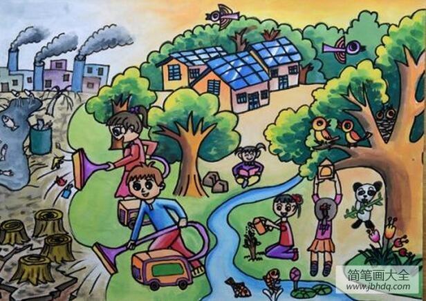 我们的新世界植树节儿童宣传画作品欣赏