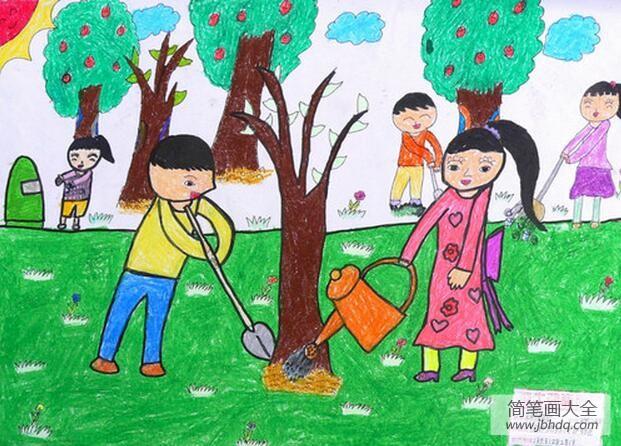 植树节手抄报 绘画|7岁小朋友植树节绘画作品之保护地球守护绿色