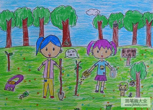 [开心的表情包]开心的植树二年级植树节绘画作品赏析