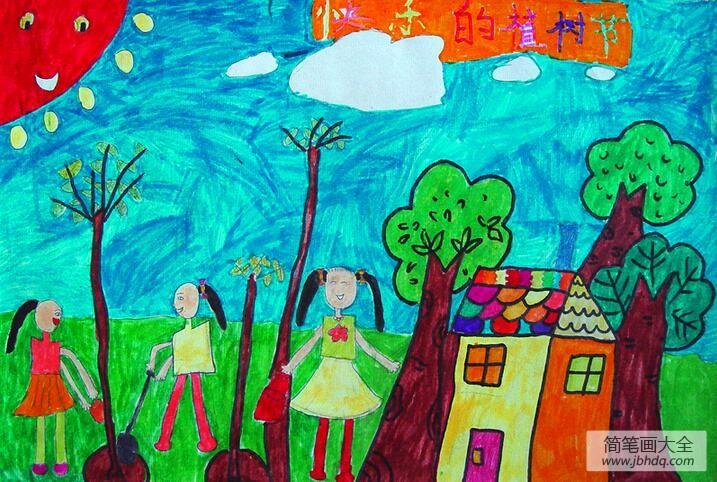 【快乐的植树节作文】快乐的植树节幼儿园植树节主题画图片欣赏