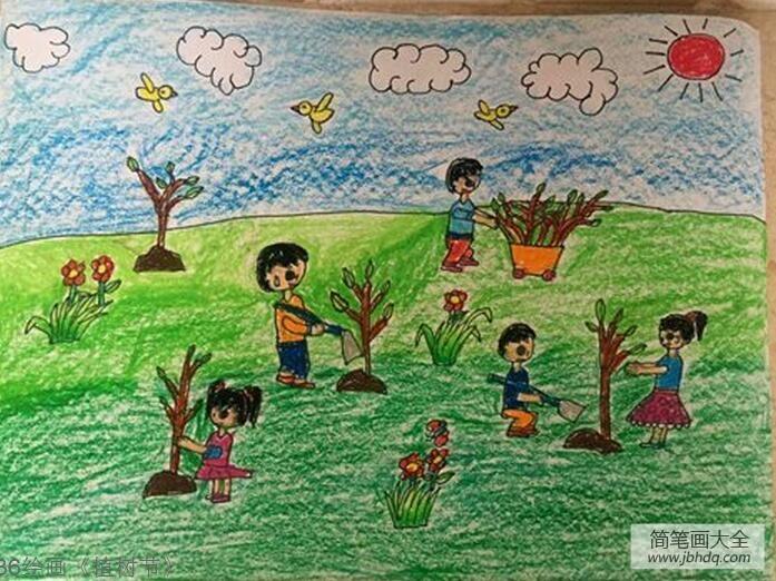 植树节手抄报 绘画|一年级植树节绘画作品之让我们一起来植树
