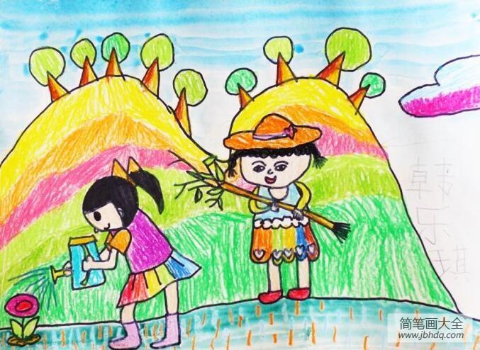种树app_种树的小姐妹简单的植树节画作品赏析