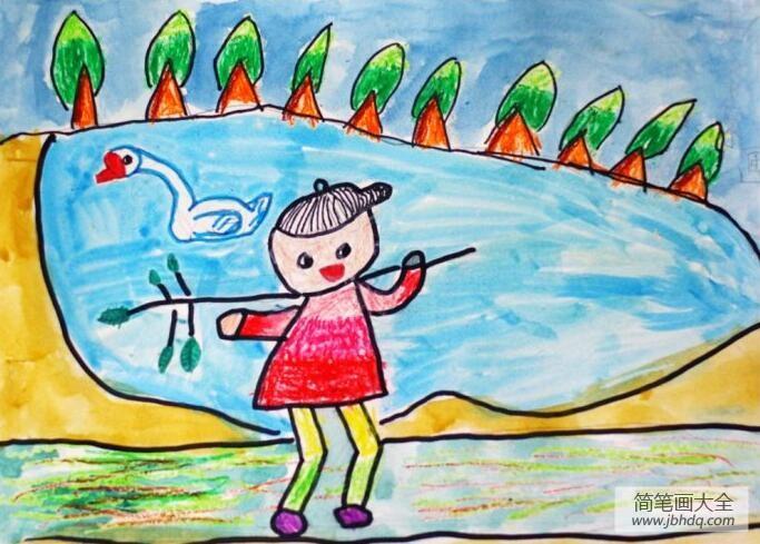 植树节的画怎么画|关于植树节的画作品之种树去喽