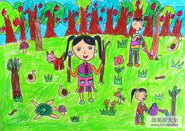 快乐的植树节作文_令人快乐的植树节儿童画植树节图片赏析