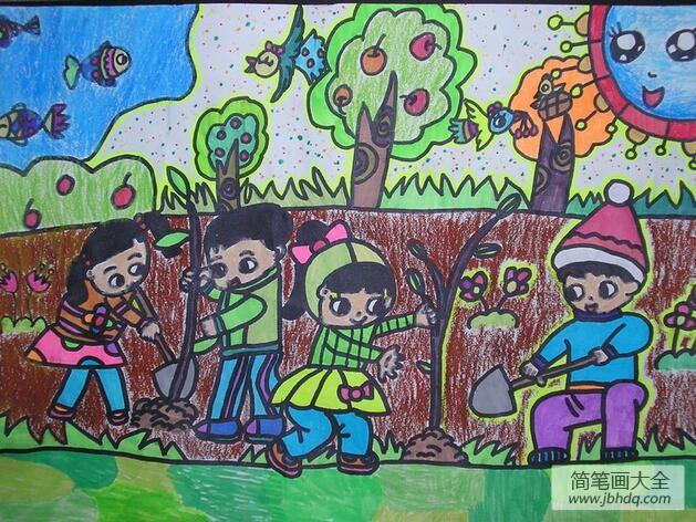 [沙漠绿化植树造林]植树造林绿化祖国关于植树节的图画