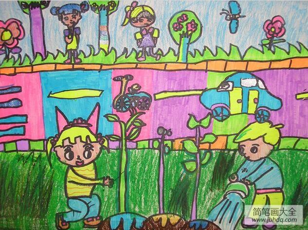 【植树节的画】植树节三年级画作品之种树活动人人参与