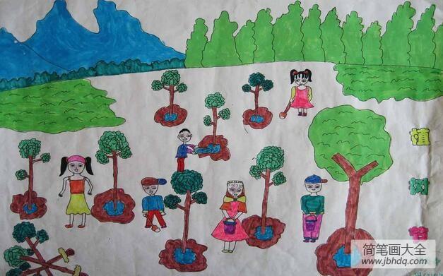 什么树苗长得快|小树苗快快长大简单的植树节画作品分享