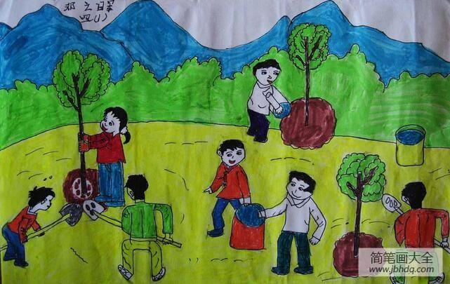 [植树节的画]植树节三年级画作品之植一片绿色