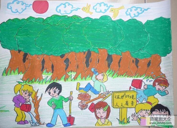 保护绿色家园的手抄报_保护绿色家园与植树节有关的绘画作品赏析