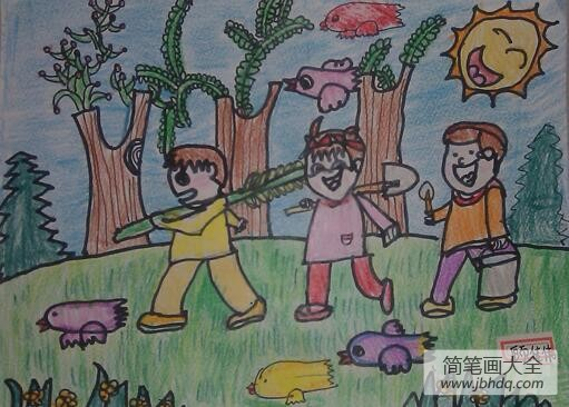 植树节的画_9岁植树节主题画作品之一起去植树