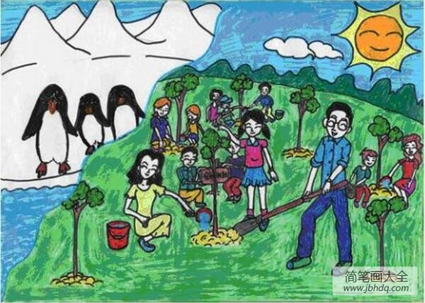 [和大人一起读]和爸爸妈妈一起去种树植树节主题画分享