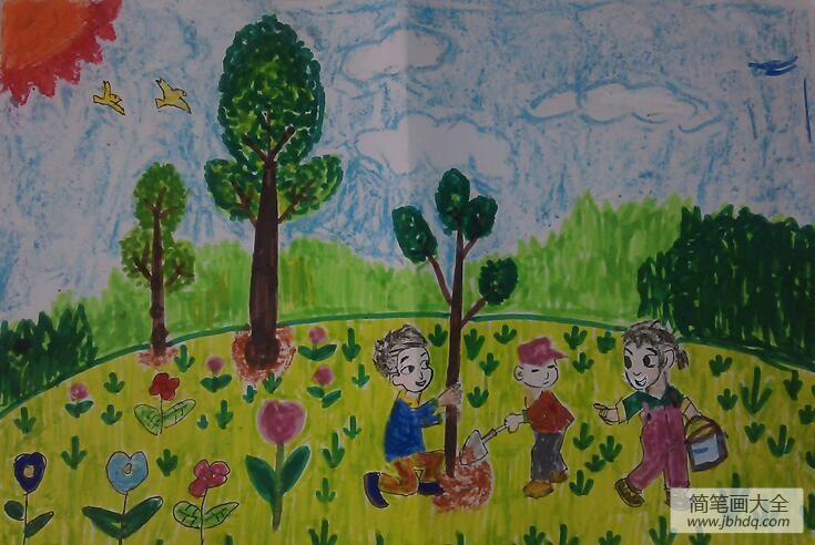 [植树节的画]植树节亲子画作品之快乐种树记