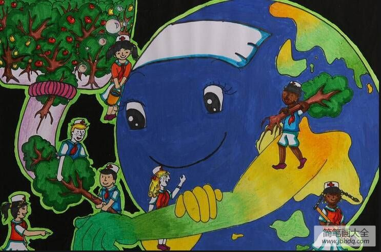[植树造林的好处]植树造林保卫地球世界地球日环保画作品分享