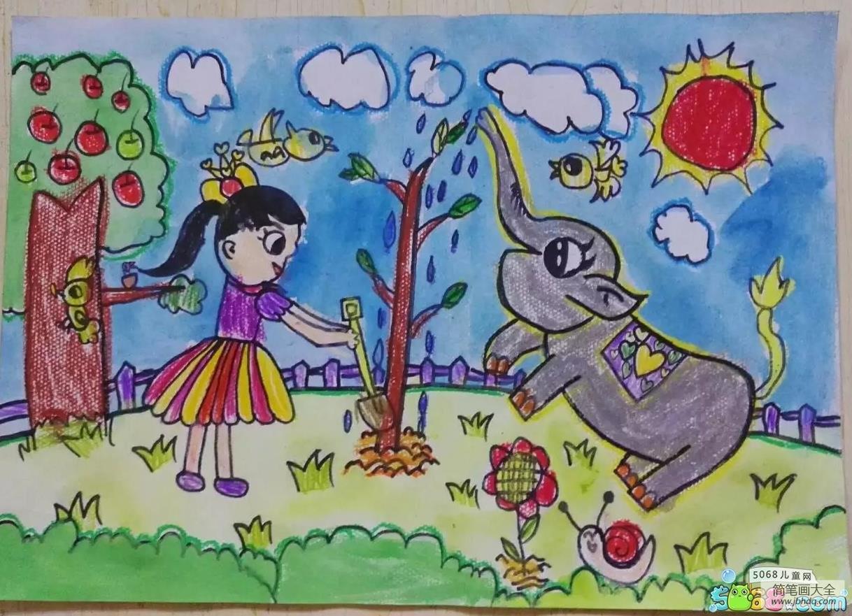 【世界上有多少種大象】和大象一起種樹植物節兒童畫獲獎作品