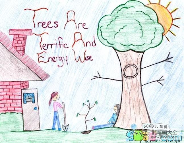 【植树节手抄报 绘画】简单的植树节绘画作品之种树的小姐妹