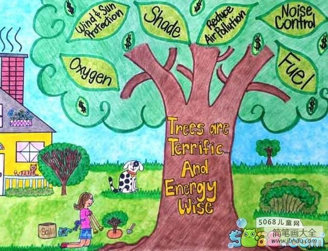 小仙女简笔画_小女孩种树二年级植树节图画赏析