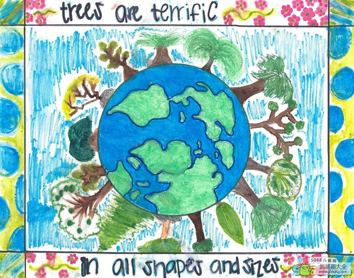 地球上的树木中班画植树节作品欣赏