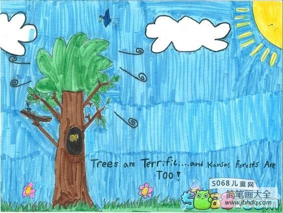 大树上的朋友|大树朋友小学生植树节绘画图片大全