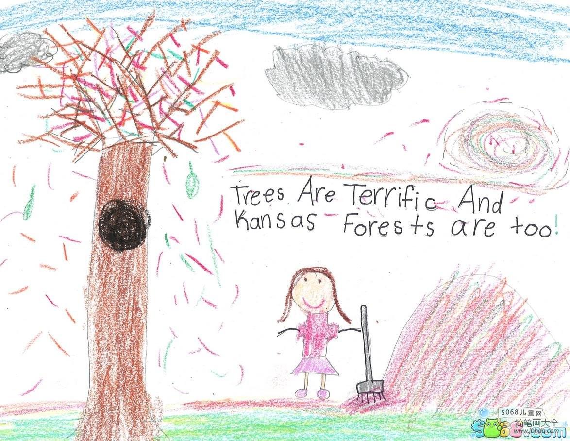 爱护大树画植树节的儿童画分享