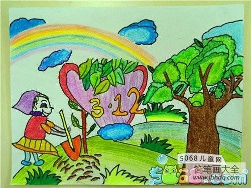 种树的小女孩植树节主题画获奖作品展示