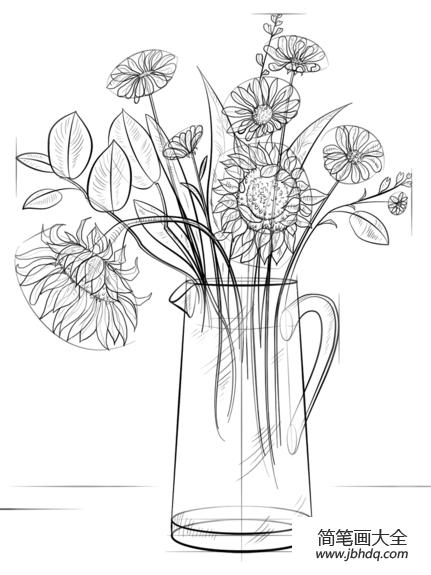 如何画一束鲜花