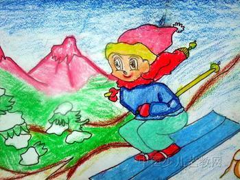 儿童画画学习|儿童画冬天图画-冬天我来滑雪